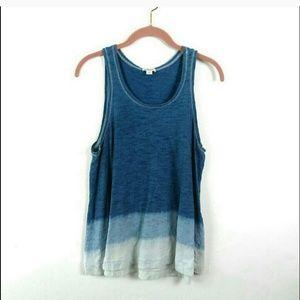 Splendid | Flowy blue watercolor tank top Medium